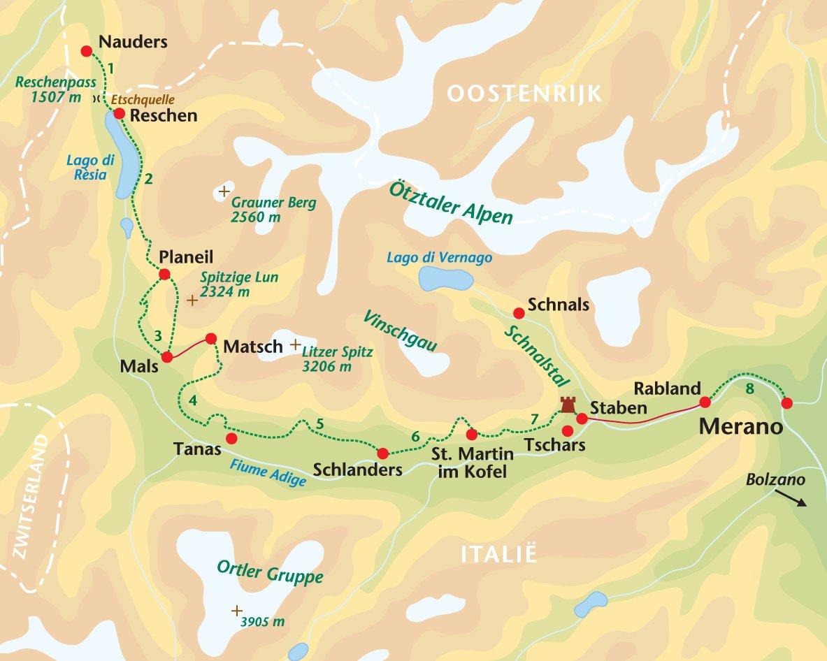 wandelreis Italië Val Venosta