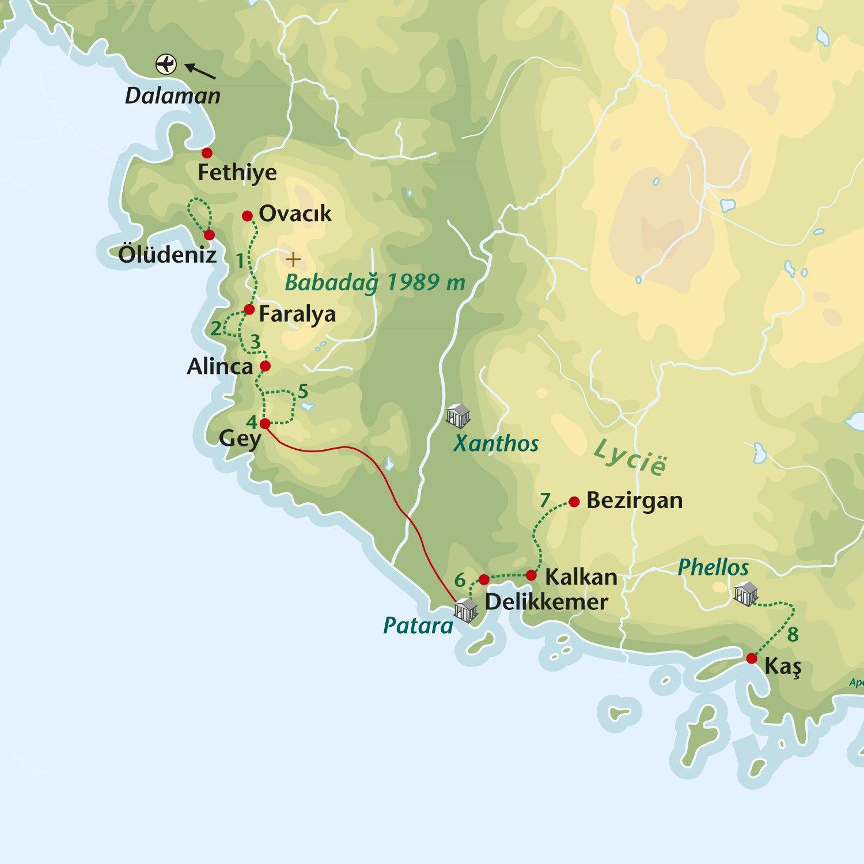 Wandelreis Turkije West Lysische kust